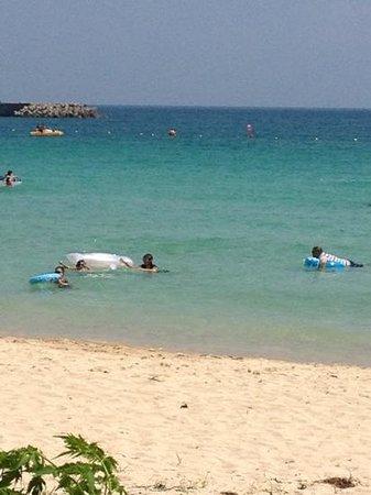 Tsutsukihama Beach: とっても綺麗な砂浜で感激しました。子供達も海に浸かりっぱなしでエンジョイ。!だったのですが、1人クラゲに刺され撃沈。海の家に駆け込んで親切な店員さんに処置して頂きました。クラゲには刺されました