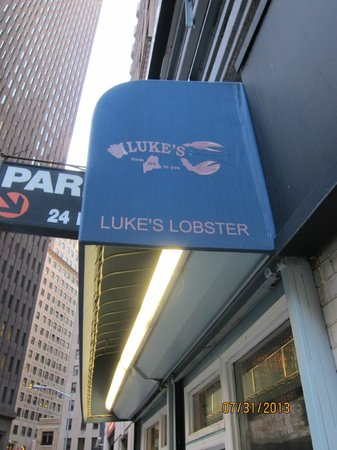 Luke's Lobster: Nondescript sign in  NYC's Financial District