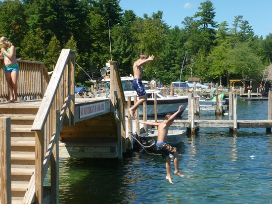 Flamingo Resort on Lake George: Jumping off the bridge was a HUGE hit!   Huge swim area with shallow & deep areas with swim dock