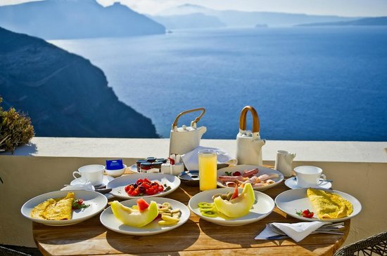 160 Thea Hotel: The ultra decadent breakfast with a view from our terrace