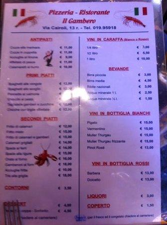 Il gambero varazze restaurantanmeldelser tripadvisor for Amber cuisine elderslie menu