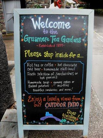 Grasmere Tea Gardens: Welcoming menu