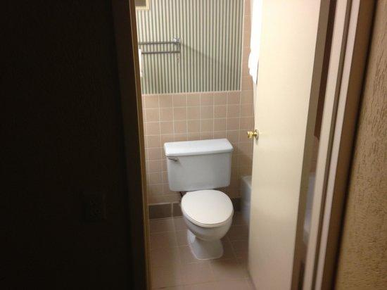Clarion Inn & Suites - Fairgrounds: Bathroom door all the way open
