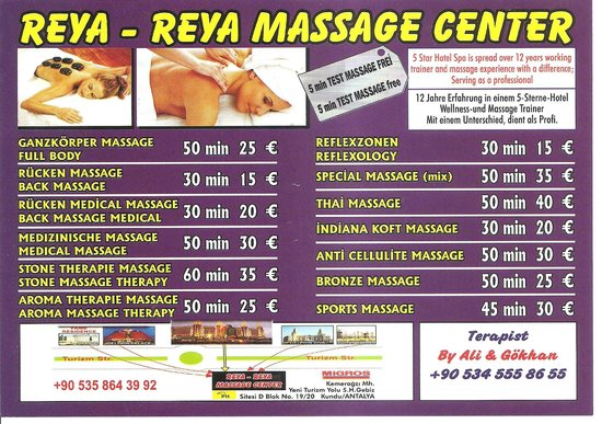 Ramada Resort Lara: SPA Reya–Reya Antalya 2013 Massage menu