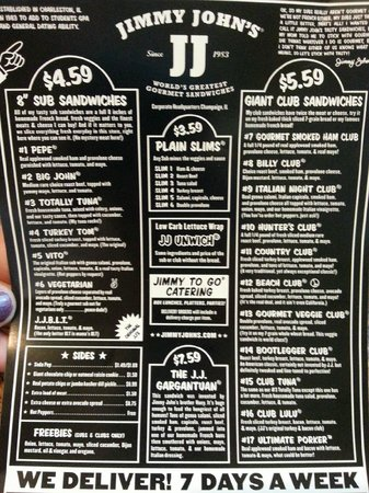 image about Jimmy Johns Printable Menu identified as jimmy johns menu freebies