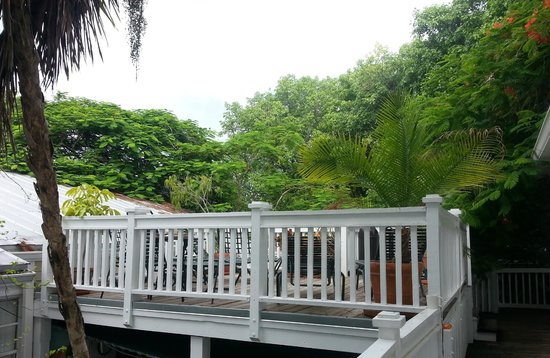 Garden House: deck opposite our room