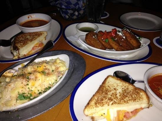 The Porch: Sharing a grilled cheese, mac and cheese, and fried green tomatoes