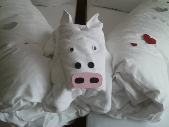 Hotel Miravalle: Asciugamani decorativi