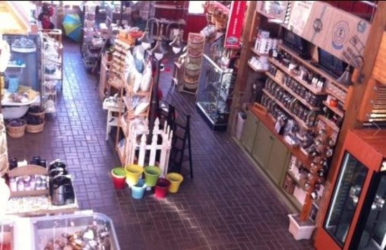 Camano Island Marketplace: view from 2nd story art gallery and consignment shop