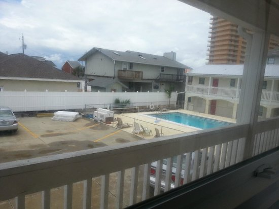 "Aqua View Motel: view of pool from ""back"" door"