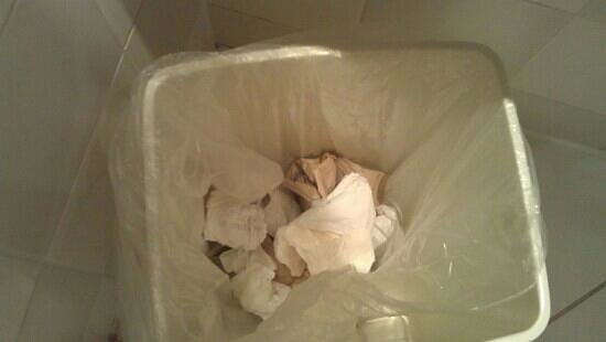 Britannia Bolton Hotel: Half full bin of used sanitary towels as a welcome present.