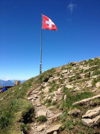 Faulhorn: Swiss flag at the top of the steeper side
