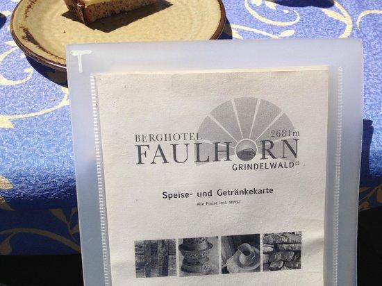 Faulhorn: Menu