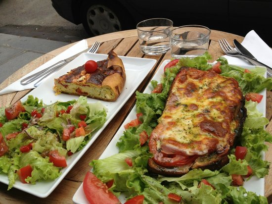 Le 9 Birague : Goat cheese quiche and Tartine Italienne