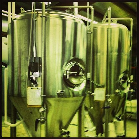 Port Huron Brewing Company: The tanks...four for the four types of beer...Amber, Porter, Hefeweizen, and Blonde.