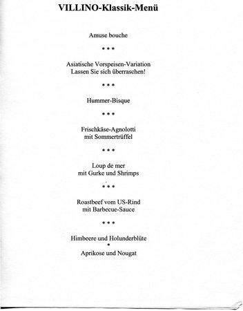VILLINO: Klassik-Menü am 10.08.2013