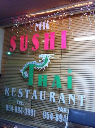 MK Sushi and Thai: front sign on window