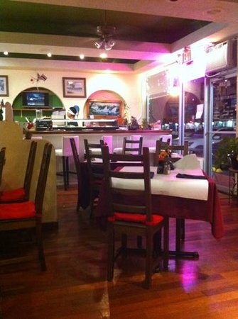 MK Sushi and Thai: dining area from booths against wall