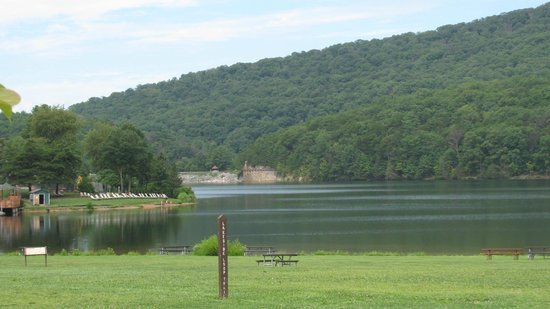 Rocky Gap State Park: View of dam from visitor center.