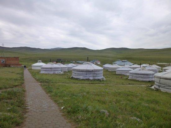 Ger Camp: Restaurant to left; gers