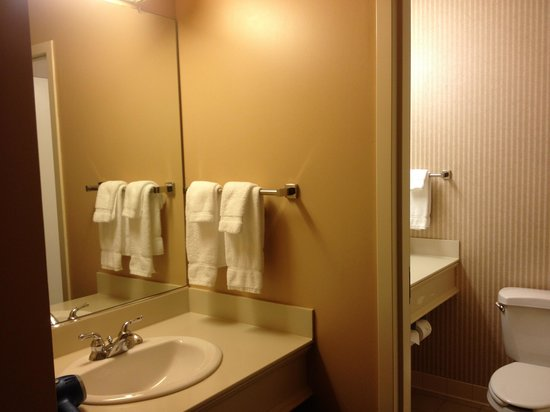 Hotel Mead & Conference Center: Whirlpool suite outside mirror and sink. Very handy to have 2