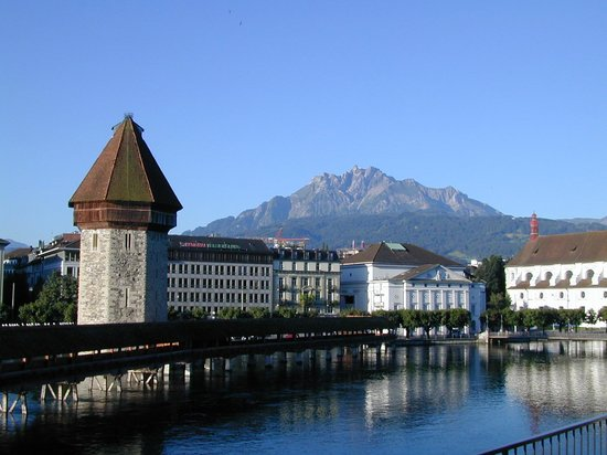 Hotel des Alpes: Mount Pilatus and the Kapellbrucke from the hotel balcony