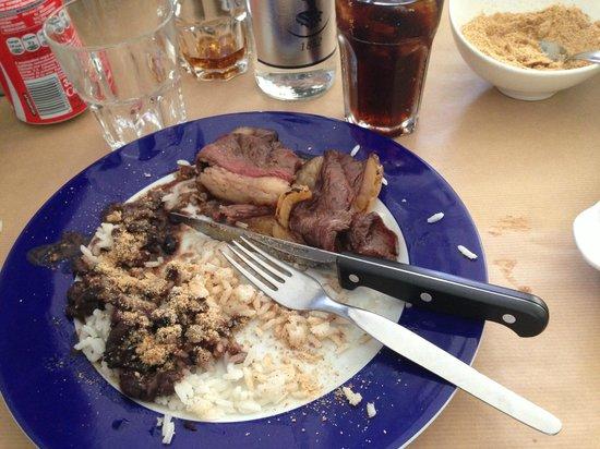 A Picanha: picanha con fagioli neri ,riso e un grande appetito !!