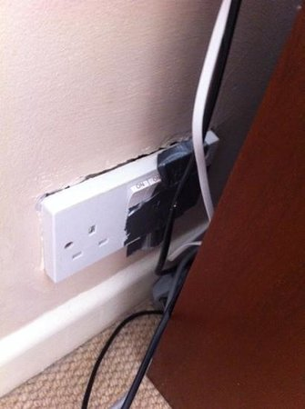 Saints Bay Hotel : taped up plug socket