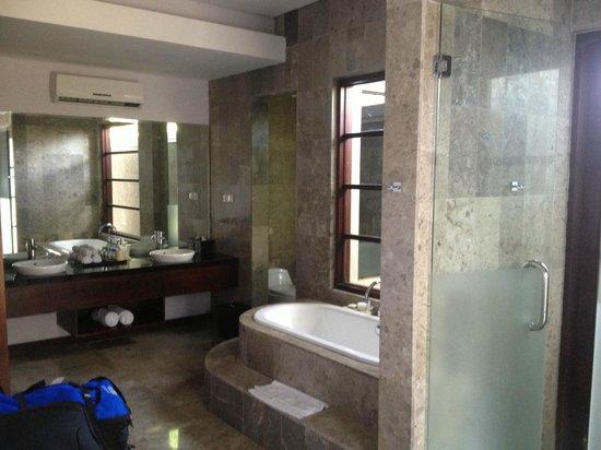 The Wolas Villas & Spa: Bathroom (massive shower, large sunken bath)