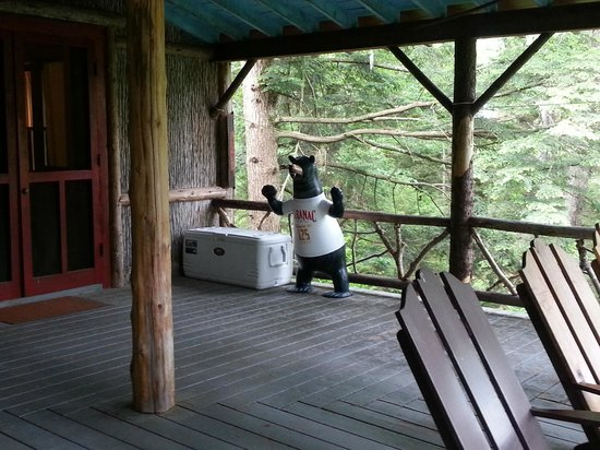 Great Camp Sagamore: Fun on the wigwam porch!