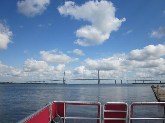 Charleston Water Taxi: view of Cooper River Bridge from the harbor