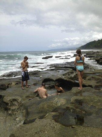 El Remanso Lodge: tidal pools on beach at El Remanso