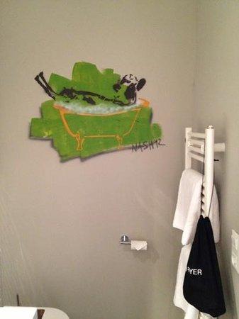Altes Stahlwerk: bathroom. hair dryer hanging in a bag