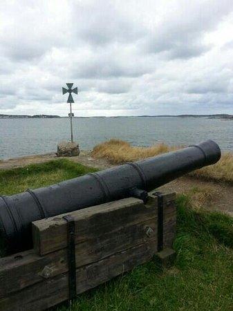 Alvsborgs Nya Fastning: vue d un canon. tres joli et rapide a visiter 1 h de bateau aller/retour