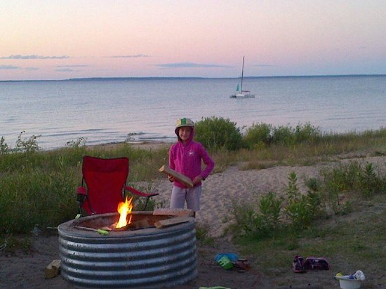 Wilderness State Park: View from campsite....campfire on beach!