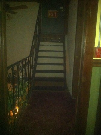 Hotel La More / The Bisbee Inn: Second floor, stairs leading to fire escape