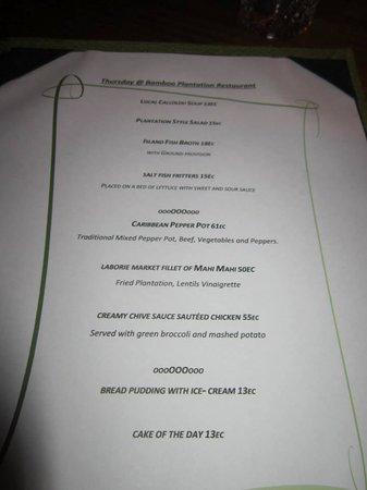 Fond Doux Plantation & Resort: Sample Menu