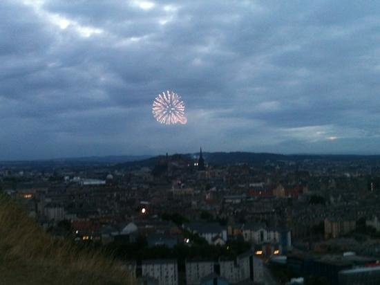 Rosslyn Castle: View of Edinburgh (fireworks from Military Tattoo) from Salisbury Crags in Holyrood Park