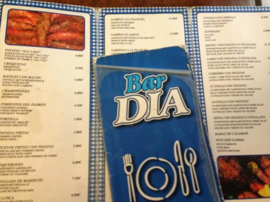 Bar Dia: MENU