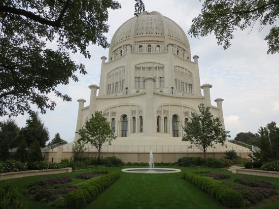 Baha'i House of Worship: Temple view from a garden