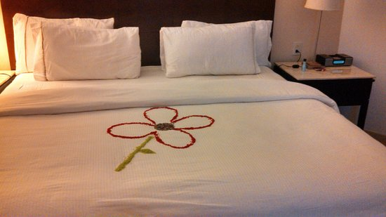 Live Aqua Beach Resort Cancun: The flower left by the housekeeping staff.