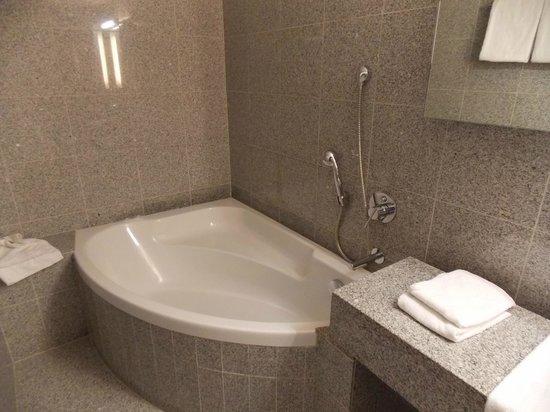 Hotel Cosmopolite : Geen houwvast om in of uit het bad/douche te stappen - gaan haak om de doucheknop op te hangen