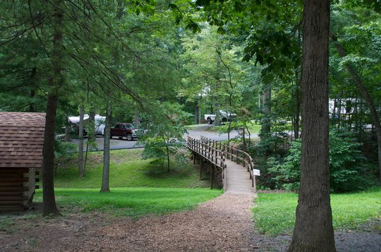 Natural Bridge/Lexington KOA : a little bridge that leads to pull-thru sites and other cabins