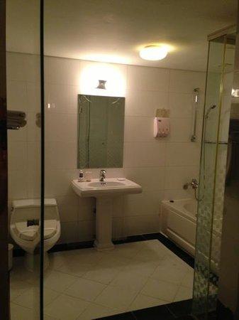Hotel Kobos : ジャグジーになるお風呂と手前がスチームサウナ独房(笑)