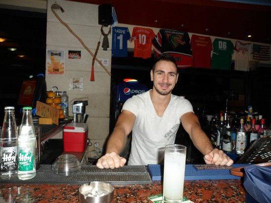 Hotel Agrabella: Our lovely night  receptionist and barman Alexander.