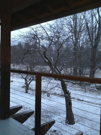 Retreat at TreeGap : A view from the balcony after it snowed!