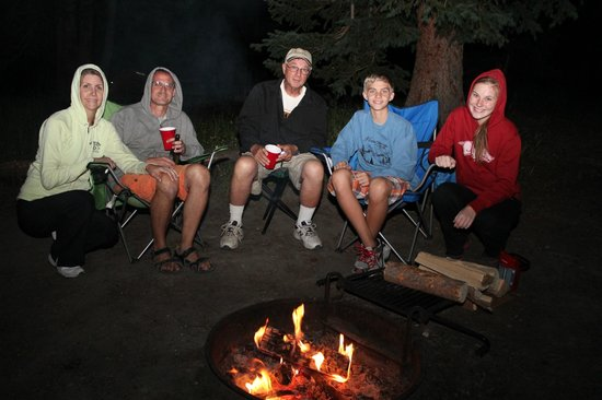Bridge Bay Campground: Keepin' warm by the fire in late July (pack for COLD 43 degree weather!)