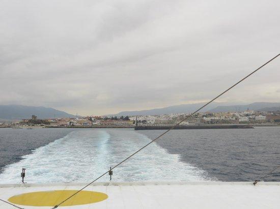 Hostal Alborada: Ferry departing Tarifa Spain to Tangier Morocco