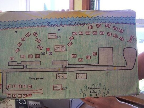 Inverness Beach Village: Map of the cabins.