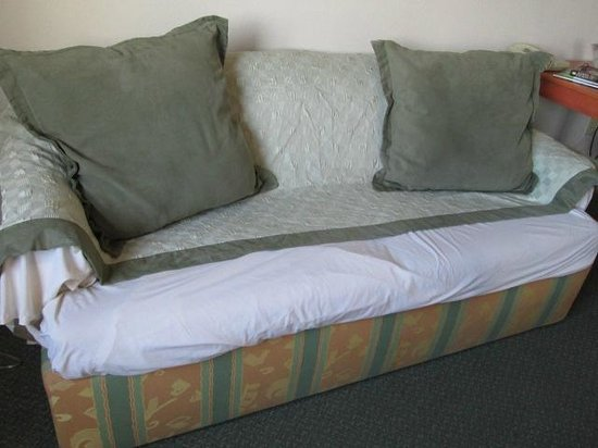 "Hawthorn Suites by Wyndham Aransas Pass : We ""fixed"" the sofa to hide the tear during our stay"